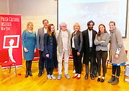 October 19, 2019. Old Westbury, New York. U.S. L-R, JOANNA RAPICKA, PAUL HUNCHAK, ISABELA GOLA, JERZY KĘDZIORA (JOTKA), NANCY COSTOPULOS, SOHRAB MOHEBBI, MARIE-ÈVE LaFONTAINE, and JENNIFER LANTZAS pose for photo after Panel Discussion during Closing Reception for Kedziora's Balance in Nature outdoor sculptures exhibit at Old Westbury Gardens, which presented the event in collaboration with The Polish Cultural Institute NY, in association with Art&Balance Foundation of Poland.