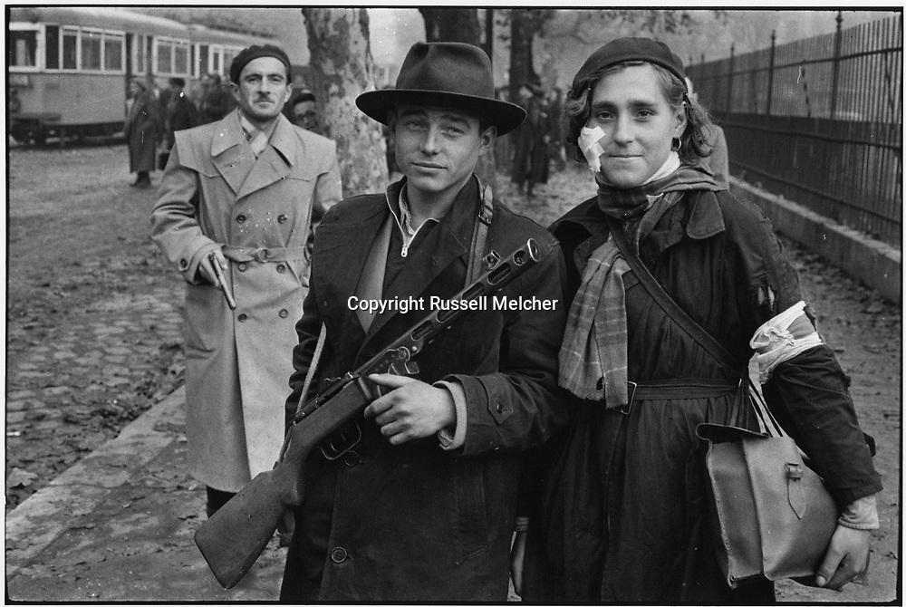 "October 1956.Budapest, Hungary. <br /> ""Heroes of Budapest"", world famous photo which has become the symbol of the courageous uprising of the oppressed people in Budapest against the Russian occupation.<br /> This photo is currently being used by the Hungarian Government on buildings and stamps etc. during the <br /> ceremonies for the 60th anniversary of the uprising.<br /> This was the first picture I took in<br /> Budapest after sneaking across the border.<br /> <br /> Octobre 1956.Budapest , Hongrie.<br /> ""Héros de Budapest "", photo de renommée mondiale qui est devenue le symbole du soulèvement courageux du peuple opprimé à Budapest contre l'occupation russe .<br /> Cette photo est actuellement utilisé par le gouvernement hongrois sur les bâtiments et les timbres , etc. pour les<br /> cérémonies du 60e anniversaire du soulèvement .<br /> Ce fut la première photo que j'ai prise a<br /> Budapest après mettre faufiler à travers la frontière ."