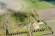 Nederland, Friesland, Gemeente Ferweradeel, 28-02-2016; Hegebeintum (Hogebeintum), Harsta State met naastgelegen boerderij. De State is een stins, historisch landhuis.<br /> Harsta mansion with adjacent farm, northern Friesland.<br />  <br /> luchtfoto (toeslag op standard tarieven);<br /> aerial photo (additional fee required);<br /> copyright foto/photo Siebe Swart