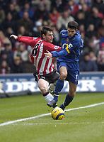 Photo: Alan Crowhurst, Digitalsport<br /> Southampton v Arsenal, 26/02/2005, Barclays Premiership. Southampton's Rory Delap gets fouled by Robin Van Persie