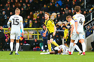 Burton Albion's Stephen Quinn (23) is penalised for a foul on Peterborough United forward Ivan Toney (17) during the EFL Sky Bet League 1 match between Burton Albion and Peterborough United at the Pirelli Stadium, Burton upon Trent, England on 27 October 2018.
