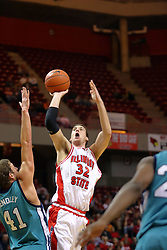 18 November 2007: Levi Dyer takes a long jump shot over Todd Hendley. Illinois State Redbirds defeated the Seahawks of the University of North Carolina - Wilmington 89-73 on Doug Collins Court in Redbird Arena on the campus of Illinois State University in Normal Illinois.