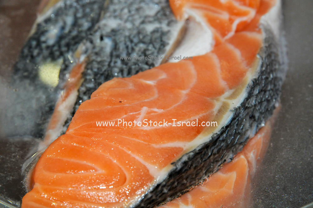 Home cooked meal - raw salmon ready for cooking