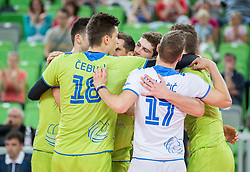 Players of Slovenia celebrate during volleyball match between National teams of Slovenia and F.Y.R. Macedonia in Qualifications for 2015 CEV Volleyball European Championship - Men on May 24, 2014 in Arena Stozice, Ljubljana, Slovenia. Photo by Vid Ponikvar / Sportida