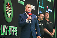 MC John McDonald during the Unibet Premier League Play-Offs at the Ricoh Arena, Coventry, England on 15 October 2020.