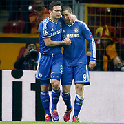 Chelsea's Fernando Torres (R) celebrate his goal with team mate during their UEFA Champions League Round of 16 First leg soccer match Galatasaray between Chelsea at the AliSamiYen Spor Kompleksi in Istanbul, Turkey on Wednesday 26 February 2014. Photo by Aykut AKICI/TURKPIX