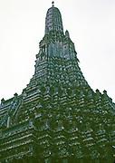 Stupa of Wat Arun Buddhist temple, Bangkok, Thailand, Asia in 1964