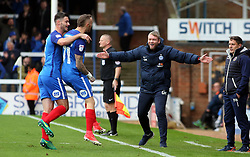 Marcus Maddison of Peterborough United celebrates scoring his goal with Peterborough United Manager Grant McCann - Mandatory by-line: Joe Dent/JMP - 28/10/2017 - FOOTBALL - ABAX Stadium - Peterborough, England - Peterborough United v Shrewsbury Town - Sky Bet League One