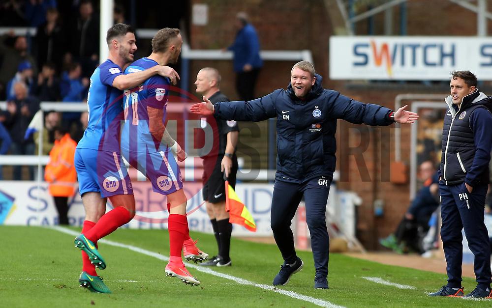 Marcus Maddison of Peterborough United celebrates scoring his goal with Peterborough United Manager Grant McCann - Mandatory by-line: Joe Dent/JMP - 28/10/2017 - FOOTBALL - ABAX Stadium - Peterborough, England - Peterborough United v Shrewsbury Town - Sky Bet League One