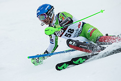 """Zan Groselj (SLO) competes during 1st Run of FIS Alpine Ski World Cup 2017/18 Men's Slalom race named """"Snow Queen Trophy 2018"""", on January 4, 2018 in Course Crveni Spust at Sljeme hill, Zagreb, Croatia. Photo by Vid Ponikvar / Sportida"""