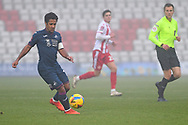 Swansea City midfielder Wayne Routledge(15) runs forward during the FA Cup match between Stevenage and Swansea City at the Lamex Stadium, Stevenage, England on 9 January 2021.