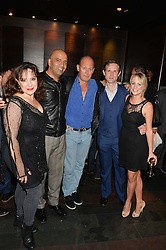 Left to right, HARRIET THORPE, AARON NEIL, ANDREW WOODALL, IAN HALLARD and KELLIE SHIRLEY at the West End opening night of 'Great Britain' a  play by Richard Bean held at The Theatre Royal, Haymarket, London followed by a post show party at Mint Leaf, Suffolk Place, London on 26th September 2014.