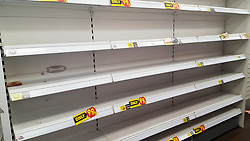 © Licensed to London News Pictures. 15/03/2020. London, UK. Empty shelves in Savers as panic-buying continues in supermarkets amid an increased number of coronavirus (COVID-19) cases in the UK. 35 coronavirus victims have died and 1,372 cases have tested positive of the virus in the UK. Photo credit: London News Pictures