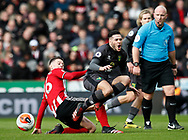 Oliver Norwood of Sheffield Utd tackles Emi Buendia of Norwich City  during the Premier League match at Bramall Lane, Sheffield. Picture date: 7th March 2020. Picture credit should read: Simon Bellis/Sportimage