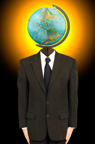 businessman with a globe on his head, business traveller, globe trotter<br />
