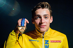 August 13, 2018 - Berlin, GERMANY - 180813 Armand Duplantis of Sweden poses with his gold medal at a closing party after the men's pole vault final during the European Athletics Championships on August 13, 2018 in Berlin..Photo: Vegard Wivestad GrÂ¿tt / BILDBYRN / kod VG / 170209 (Credit Image: © Vegard Wivestad Gr¯Tt/Bildbyran via ZUMA Press)