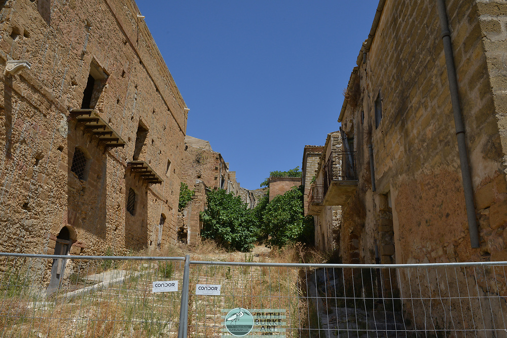 Poggioreale, Sicily Antica located in the Belice Valley in Sicily. Ruins are from 1968 earthquake leaving the old town uninhabited since.