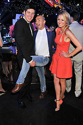 Left to right, VERNON KAY, LOUIE SPENCE and TESS DALY at the F1 Party in aid of Great Ormond Street Hospital Children's Charity held at Battersea Evolution, Battersea Park, London on 4th July 2012.