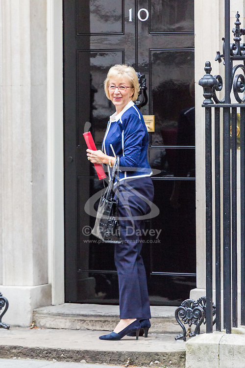 London, October 10 2017. Leader of the House of Commons Andrea Leadsom attends the UK cabinet meeting at Downing Street. © Paul Davey