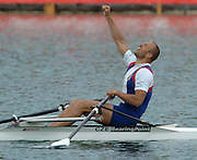 FISA World Cup Rowing Munich Germany..Photo Peter Spurrier 29/05/2004. Finals day..CZE M1X Vaclav Chalupa [Mandatory Credit: Peter Spurrier: Intersport Images].
