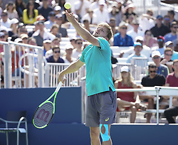 September 4, 2017 - New York, New York, United States - David Goffin of Belgium serves during match against Andrey Rublev of Russia at US Open Championships at Billie Jean King National Tennis Center  (Credit Image: © Lev Radin/Pacific Press via ZUMA Wire)