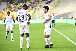 May 6, 2018 - Nantes, France, France - joie des joueurs de Montpellier apres le but de Keagan Dolly  (Credit Image: © Panoramic via ZUMA Press)