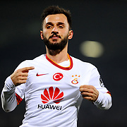 Galatasaray's Emre Colak celebrate his goal during their Turkish Super League soccer match Genclerbirligi between Galatasaray at the 19 Mayis stadium in Ankara Turkey on Friday, 26 December 2014. Photo by Batuhan AKICI/TURKPIX