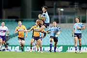Jack Maddocks takes a kick. NSW Waratahs v ACT Brumbies. 2021 Super Rugby AU Round 7 Match. Played at Sydney Cricket Ground on Friday 2 April 2021. Photo Clay Cross / photosport.nz