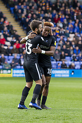 March 23, 2019 - Shrewsbury, England, United Kingdom - Goalscorer Ben Close of Portsmouth FC celebrates with Jamal Lowe of Portsmouth FC during the Sky Bet League 1 match between Shrewsbury Town and Portsmouth at Greenhous Meadow, Shrewsbury on Saturday 23rd March 2019. (Credit Image: © Mi News/NurPhoto via ZUMA Press)