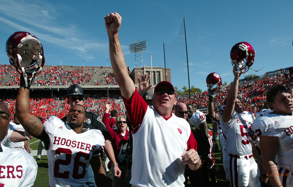 07 October 2006: Indiana coach Terry Hoeppner after the Indiana Hoosiers beat  the Illinois Illini 34-32 in a college football game in Champaign, Ill.