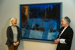 Pictured: Victoria Crowe OBE and Christine De Luca in front of Light and Reflection From Within<br /><br />Another Time, Another Place at The Scottish Gallery - an exhibition of works by renowned artist Victoria Crowe OBE which have inspired 12 poems by poet Christine De Luca<br /><br />Ger Harley   EEm 29 April 2021