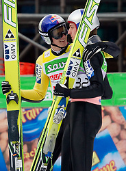 Thomas Morgenstern and Gregor Schlierenzauer of Austria celebrate during Flying Hill Individual at 2nd day of FIS Ski Jumping World Cup Finals Planica 2011, on March 18, 2011, Planica, Slovenia. (Photo by Vid Ponikvar / Sportida)