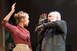 © Licensed to London News Pictures. 24/09/2013. The Rose Theatre Kingston and English Touring Theatre present Ghosts by Henrik Ibsen. Directed by Stephen Unwin. Featuring Pip Donaghy, Patrick Drury, Florence Hall, Kelly Hunter & Mark Quartley. Picture: Patrick Drury & Florence Hall. Photo credit: Tony Nandi/LNP