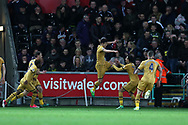 Son Heung-min of Tottenham Hotspur © celebrates with teammates after he scores his teams 2nd goal. Premier league match, Swansea city v Tottenham Hotspur  at the Liberty Stadium in Swansea, South Wales on Wednesday 5th April 2017.<br /> pic by Andrew Orchard, Andrew Orchard sports photography.