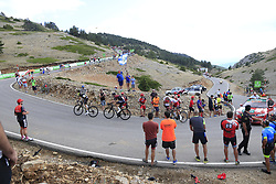 Mikel Nieve (ESP) Mitchelton-Scott, Wout Poels (NED) Team Ineos and Nicolas Edet (FRA) Cofidis on the final Cat 1 climb up to Observatorio Astrofisico de Javalambre during Stage 5 of La Vuelta 2019 running 170.7km from L'Eliana to Observatorio Astrofisico de Javalambre, Spain. 28th August 2019.<br /> Picture: Ann Clarke | Cyclefile<br /> <br /> All photos usage must carry mandatory copyright credit (© Cyclefile | Ann Clarke)