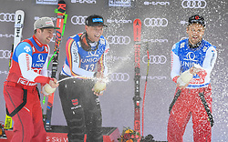 13.02.2020, Zwölferkogel, Saalbach Hinterglemm, AUT, FIS Weltcup Ski Alpin, Abfahrt, Herren, Siegerehrung, im Bild v.l. Beat Feuz (SUI), Thomas Dressen (GER), Mauro Caviezel (SUI) // f.l. Beat Feuz of Switzerland, Thomas Dressen of Germany, Mauro Caviezel of Switzerland during the winner ceremony for the men's Downhill of FIS Ski Alpine World Cup at the Zwölferkogel in Saalbach Hinterglemm, Austria on 2020/02/13. EXPA Pictures © 2020, PhotoCredit: EXPA/ Erich Spiess