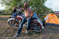 Doug Tirtlot camping at the Buffalo Chip during the annual Sturgis Black Hills Motorcycle Rally. SD, USA. Thursday, August 11, 2016. Photography ©2016 Michael Lichter.
