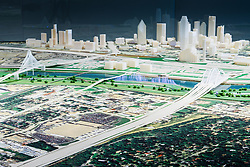 Model of Trinity River project and Calatrava Bridges, Dallas, Texas, USA.