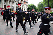 Military regiment practise their marching band displays prior to a major event in central London, England, United Kingdom.