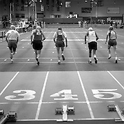 The 85 and over age groups run the 55 meter sprint at the 2008 USA Master's Indoor Track & Field Championships in Boston, Massachusetts. March, 2008.