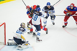 Yevgeni Malkin of Russia and Nikolai Kulyomin of Russia vs Pekka Rinne of Finland, Sami Lepisto of Finland and Tuomo Ruutu of Finland during Ice Hockey match between Finland and Russia at Day 12 in Group B of 2015 IIHF World Championship, on May 12, 2015 in CEZ Arena, Ostrava, Czech Republic. Photo by Vid Ponikvar / Sportida