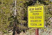 Sign warning of bear habitat, Tuolumne Meadows, Yosemite National Park, California
