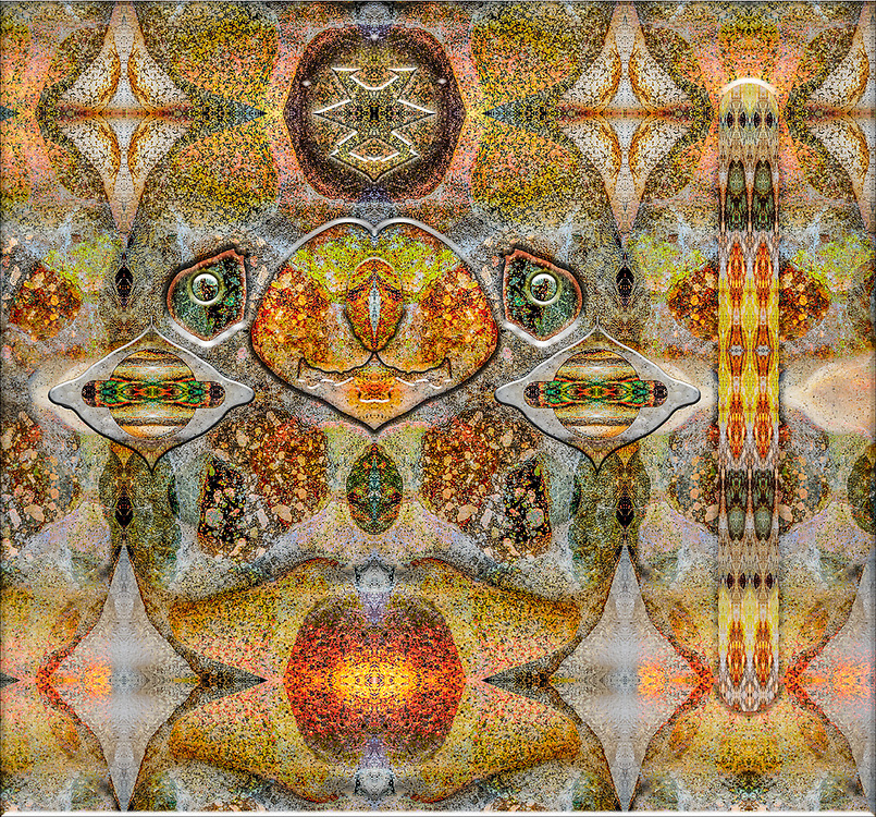 """""""Munchkin"""", derivative image created from a photo of fireplace masonary, June, private cabin in the Methow Valley, Okanogan County, WA, USA"""