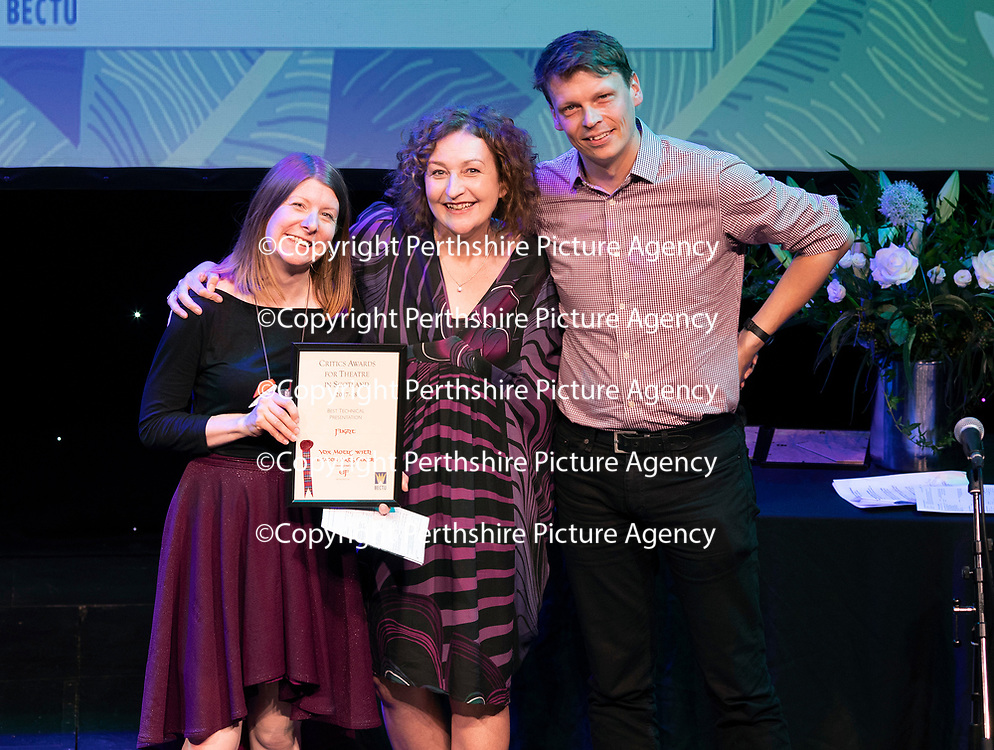 EMBARGOED UNTIL 18.00 (6PM) 10.06.18 <br />Critics' Awards for Theatre in Scotland at Perth Theatre…Winners of the BEST TECHNICAL PRESENTATION award Vox Motus for Flight with Blythe Duff<br />for further info contact Lesley Booth at CATS on 07799 414474<br />Picture by Graeme Hart.<br />Copyright Perthshire Picture Agency<br />Tel: 01738 623350  Mobile: 07990 594431