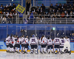February 18, 2018 - Pyeongchang, KOREA - Korea team gathers together in a hockey game between Switzerland and Korea during the Pyeongchang 2018 Olympic Winter Games at Kwandong Hockey Centre. Switzerland beat Korea 2-0. (Credit Image: © David McIntyre via ZUMA Wire)