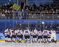 February 18, 2018 - Pyeongchang, KOREA - Korea team gathers together in a hockey game between Switzerland and Korea during the Pyeongchang 2018 Olympic Winter Games at Kwandong Hockey Centre. Switzerland beat Korea 2-0. (Credit Image: © David McIntyre via ZUMA Wire)