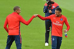 Kylian Mbappe and Neymar Jr of Paris Saint-Germain arrive for a Paris Saint-Germain training session at Centre Ooredoo on September 6, 2017 in Saint-Germain en Laye, Paris, France. Photo by Laurent Zabulon/ABACAPRESS.COM