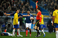 FOOTBALL - FRIENDLY GAME 2010/2011 - FRANCE v BRAZIL - 9/02/2011 - PHOTO GUY JEFFROY / DPPI - RED CARD HERNANES (BRA) / WOLFGANG STARK (REFEREE)