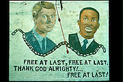 Wall mural of John Kennedy and Martin Luther King, jr.  Chicago Illinois USA