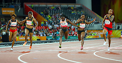 (left to right) Trinidad and Tobago's Reyare Thomas, Jamaica's Natasha Morrison, England's Asha Philip, Jamaica's Christiania Williams and Trinidad and Tobago's Michelle-Lee Ahye cross the finish line in the Women's 100m Final at the Carrara Stadium during day five of the 2018 Commonwealth Games in the Gold Coast, Australia.